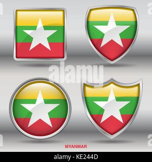 Myanmar Flag - 4 shapes Flags States Country in the World with clipping path - Stock Photo