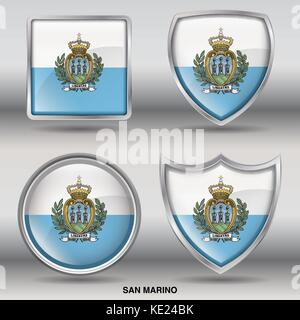 San Marino Flag - 4 shapes Flags States Country in the World with clipping path - Stock Photo