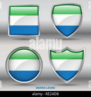 Sierra Leone Flag - 4 shapes Flags States Country in the World with clipping path - Stock Photo