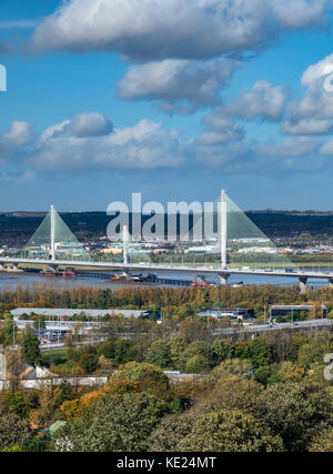 The Mersey Gateway Bridge over the Mersey Estuary between Runcorn and Widnes, Cheshire, England, UK - Stock Photo