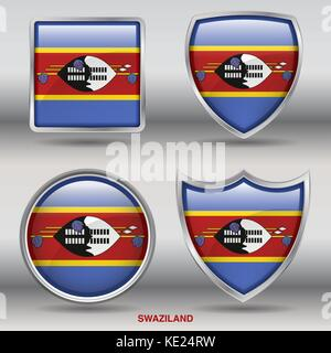 Swaziland Flag - 4 shapes Flags States Country in the World with clipping path - Stock Photo