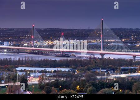 The Mersey Gateway Bridge over the Mersey Estuary between Runcorn and Widnes, Cheshire, England, UK - Stock Photo