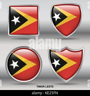 Timor Leste Flag - 4 shapes Flags States Country in the World with clipping path - Stock Photo