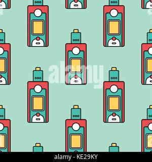 seamless pattern electronic cigarette vaporizer vector art - Stock Photo