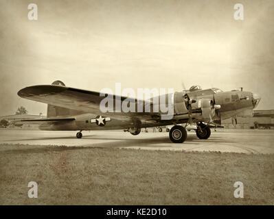 Old WW2 era bomber preparing for takeoff - Stock Photo