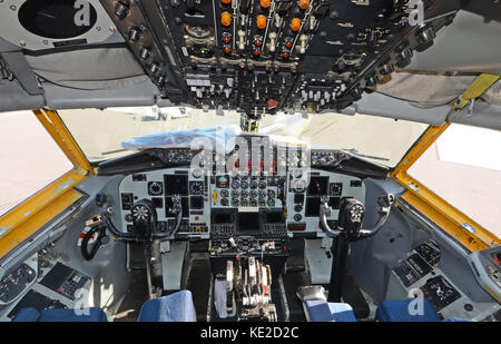 Military air tanker cockpit view - Stock Photo