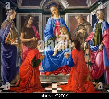 Madonna and Child with Six Saints (Sant'Ambrogio Altarpiece) by Sandro Botticelli (Alessandro di Mariano di Vanni - Stock Photo