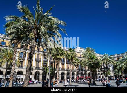 famous landmark plaza real square in central barcelona city in spain - Stock Photo