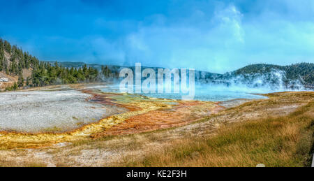 August 22, 2017 - Excelsior Geyser Crater in Yellowstone National Park - Stock Photo