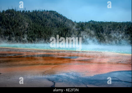 August 22, 2017 - Grand Prismatic Spring in Yellowstone National Park - Stock Photo