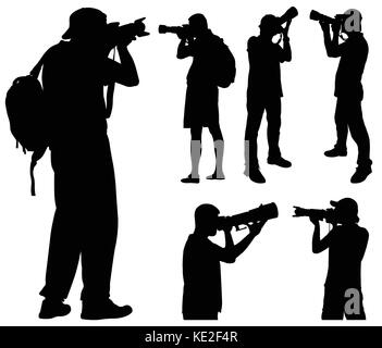 photographers with telephoto lens silhouettes - vector - Stock Photo