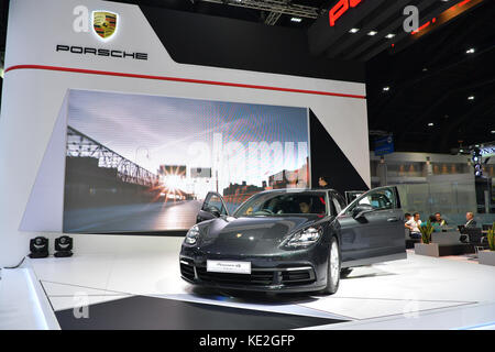 NONTHABURI - MARCH 28: Porsche Panamera 4S car on display at The 38th Bangkok International Thailand Motor Show - Stock Photo