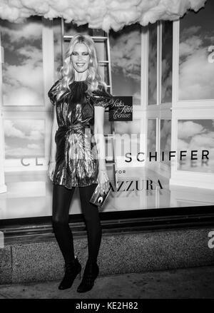 NEW YORK, NY - October 17, 2017: Supermodel Claudia Schiffer attends the Claudia Schiffer For Aquazzura Launch at Saks Fifth Avenue