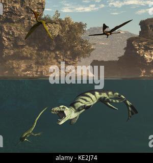 Pterodactylus flying over a Dakosaurus attacking a marine reptile. - Stock Photo