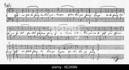 Franz Joseph Haydn 's 'Gott erhalte Franz den Kaiser' - signed handwritten score. Anthem written in honor of the - Stock Photo