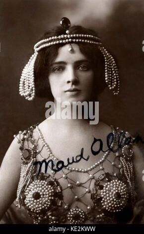 Maud Allan in Richard STRAUSS '  'Salome'.  Opera premiered 1905. Canadian actress and dancer. Signed postcard. - Stock Photo