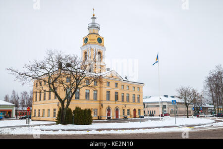 Hamina, Finland - December 13, 2014: historical town Hall of Hamina. Originally built in 1798, was renovated by - Stock Photo