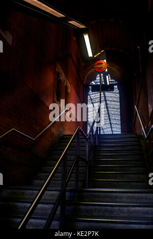 Steps down to the Underground and up to main hall of St Pancras Train Station in London England UK - Stock Photo