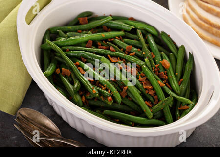 Green beans with bacon, side dish for Thanksgiving or Christmas dinner - Stock Photo