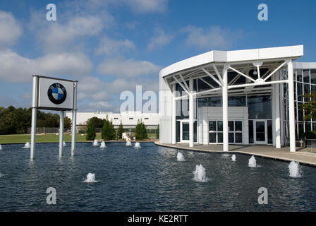 BMW manufacturing plant visitor's center and sign, Greer, South Carolina, USA. - Stock Photo