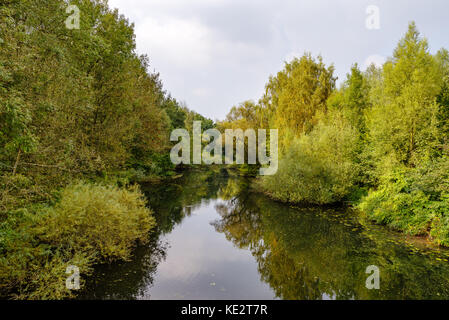 View over the ruhr in the Heisinger Ruhraue, Essen - Stock Photo