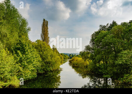 View over the ruhr in the Heisinger Ruhraue, Essen, Germany - Stock Photo