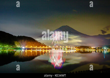 Fireworks at Lake Kawaguchi, Winter - Stock Photo