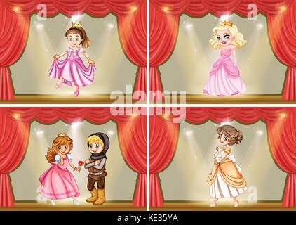 Princess and knight on the stage play illustration - Stock Photo