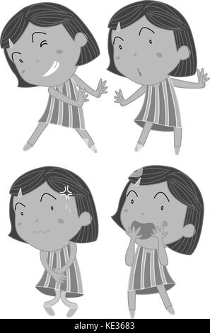 Set of girls in different actions illustration - Stock Photo
