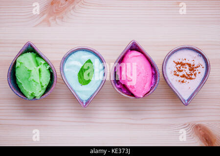 Alternative skin care and homemade scrubs lavender scrubs ,strawberry scrubs ,avocado scrubs and almond scrubs on - Stock Photo
