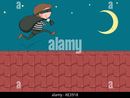 Robber with bag running on the roof illustration - Stock Photo
