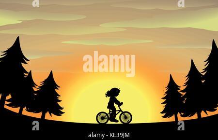 Silhouette girl riding bike in the park illustration - Stock Photo