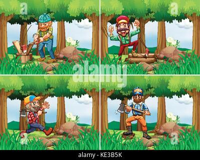 Four lumberjack chopping woods illustration - Stock Photo