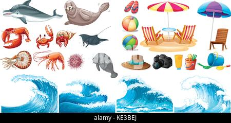 Summer theme set with waves and sea animals illustration - Stock Photo