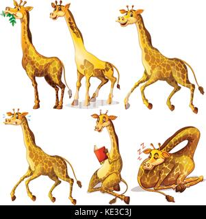 Giraffes in six positions illustration - Stock Photo