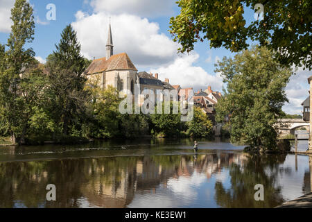 The old mill, Argenton sur Creuse, central France, fisherman - Stock Photo