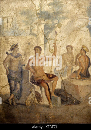 Roman fresco depicting Meleager and Atalanta resting after hunting ...