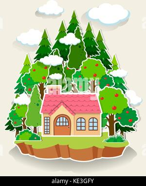 Woods Illustration Little House In The Forest