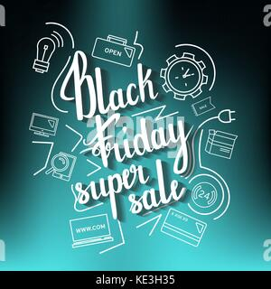 The handwritten phrase Black Friday Super Sale on a blue with icons. - Stock Photo