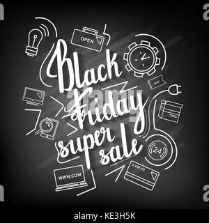 The handwritten phrase Black Friday Super Sale on a blackboard with icons. - Stock Photo