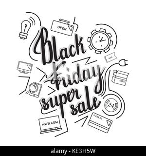 The handwritten phrase Black Friday Super Sale on a whine background with icons. - Stock Photo