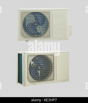 two positions of the air conditioner unit on a white background - Stock Photo