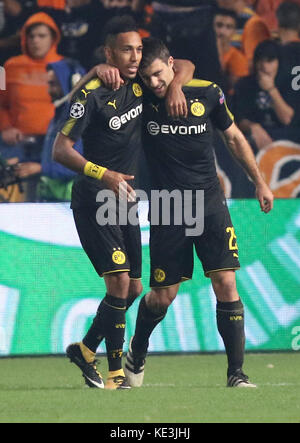 Nicosia, Cyprus. 17th Oct, 2017. Bortussia Dortmund's Sokratis Papastathopoulos (R) celebrates scoring during the - Stock Photo