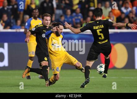 Nicosia, Cyprus. 17th Oct, 2017. Apoel's Stathis Aloneftis (C) vies for the ball during the 2017-2018 Champions - Stock Photo