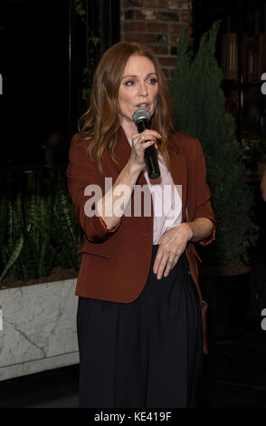New York, United States. 18th Oct, 2017. New York, NY - October 18, 2017: Julianne Moore speaks at launch campaign - Stock Photo