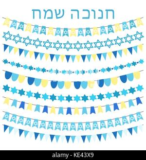 Happy hanukkah set of garlands, bunting, flags. Collection of design elements, decorations for a Jewish holiday. - Stock Photo