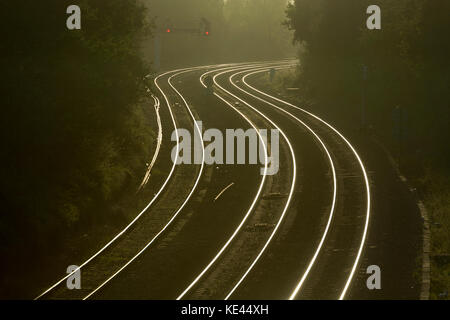 Railway lines winding into the distance, Hatton Bank, Warwickshire, UK - Stock Photo