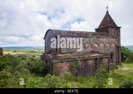 Catholic Church at Bokor Hill, Cambodia - Stock Photo