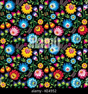 Seamless vector Polish folk art floral pattern - Wzory Lowickie, Wycinanki on black background - Stock Photo