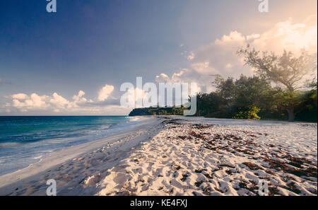 A view along the beautiful Foul Bay on the Caribbean island of Barbados. - Stock Photo